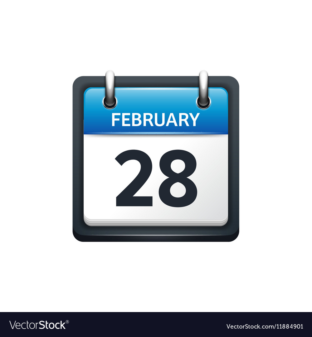 February 28 Calendar icon vector image