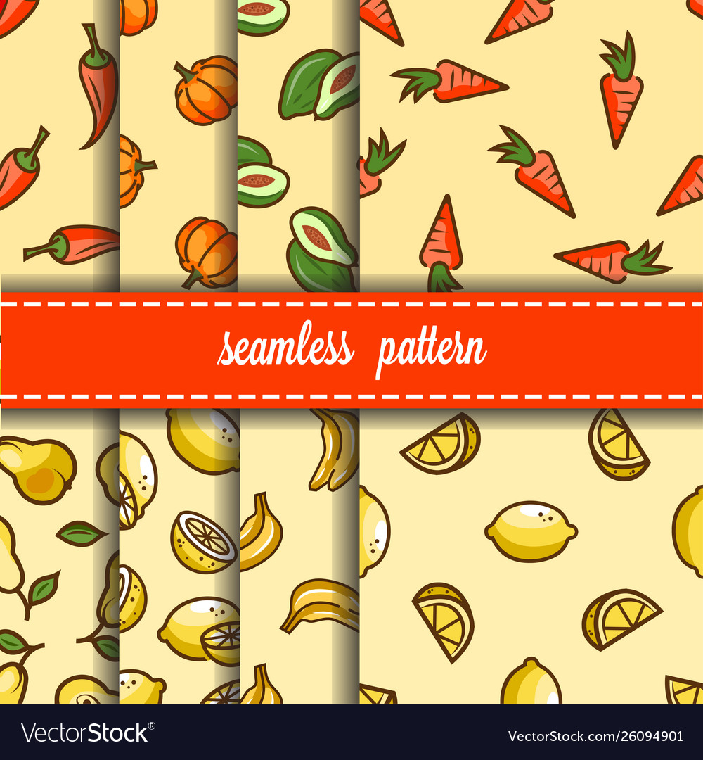 Fruit and vegetables seamless pattern set