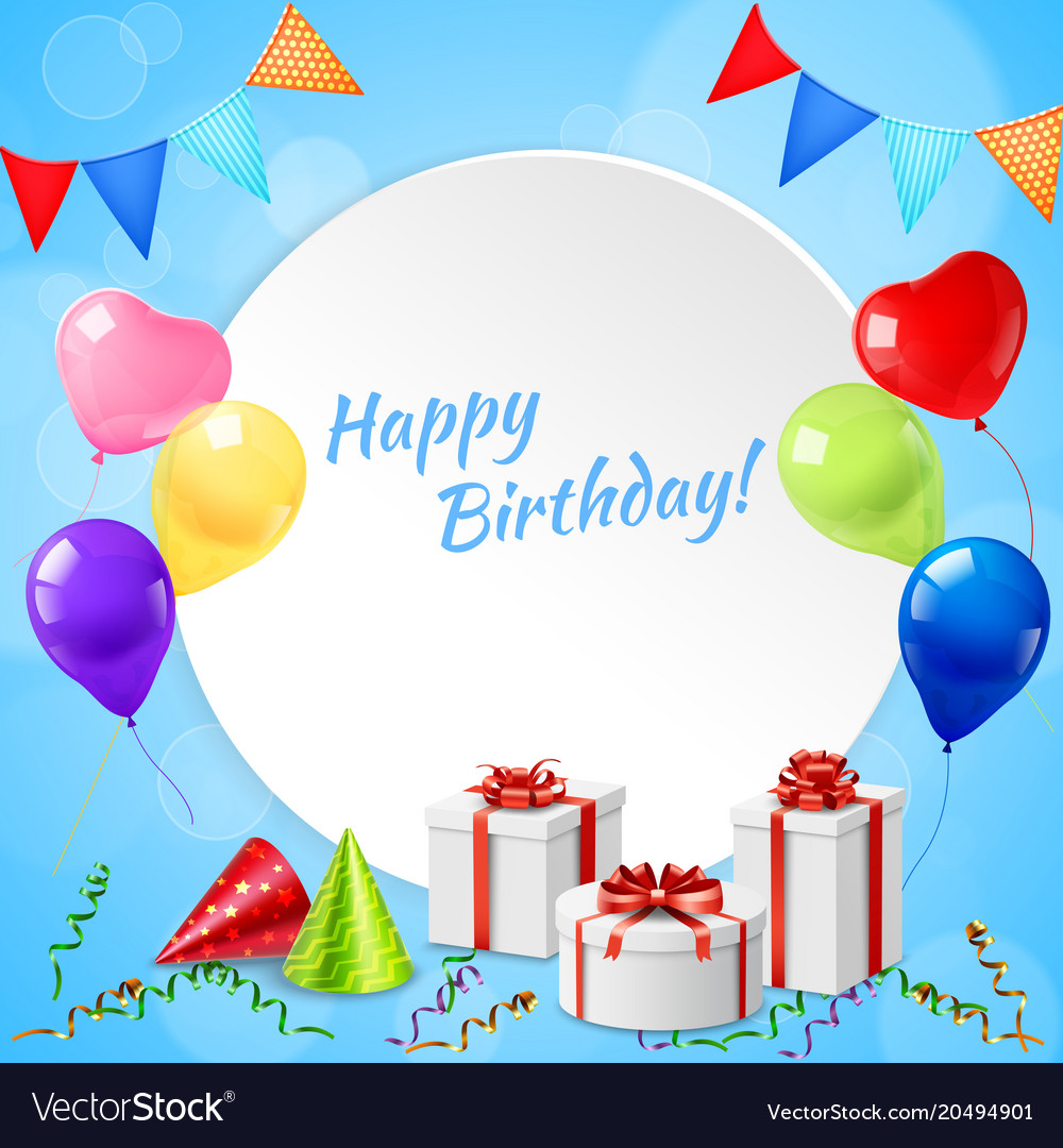 Happy birthday frame realistic Royalty Free Vector Image