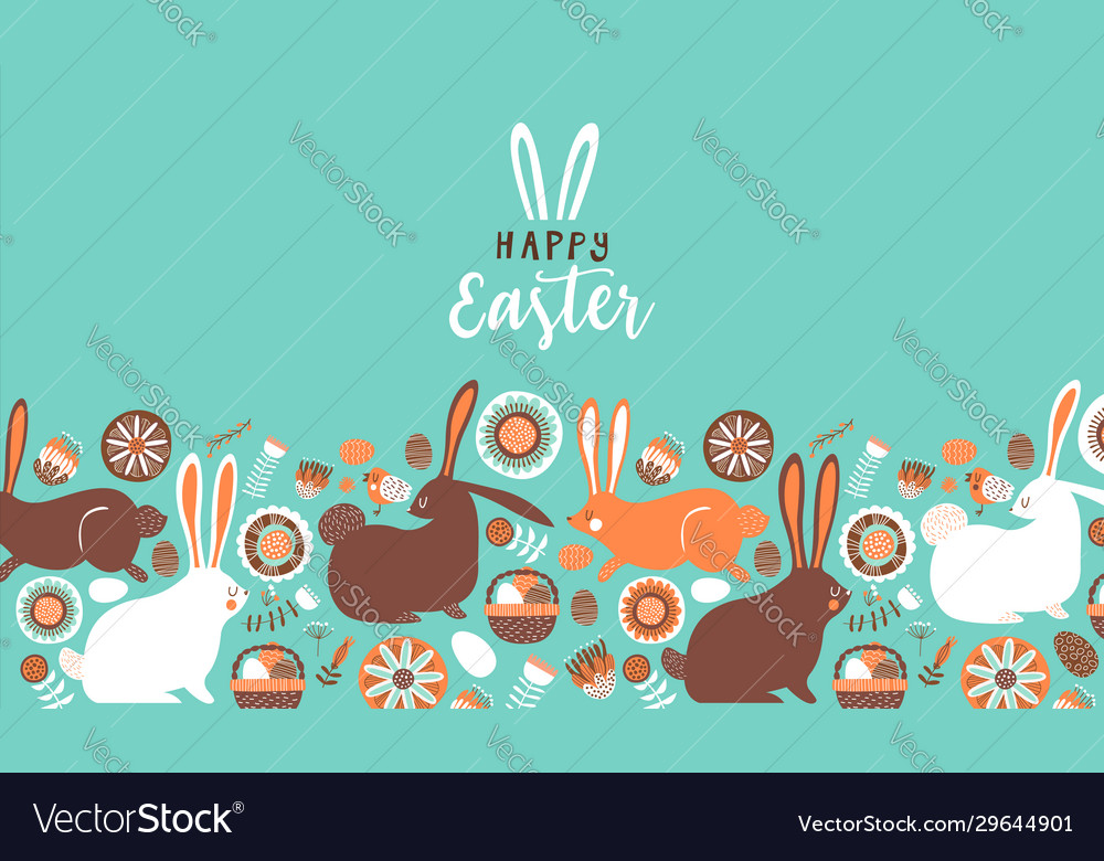 Happy easter cute flower rabbit card background