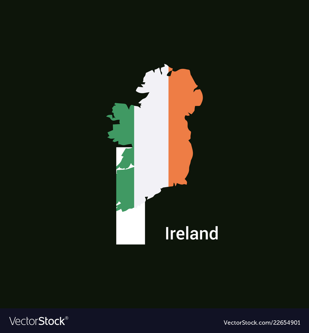 Ireland initial letter country with map and flag