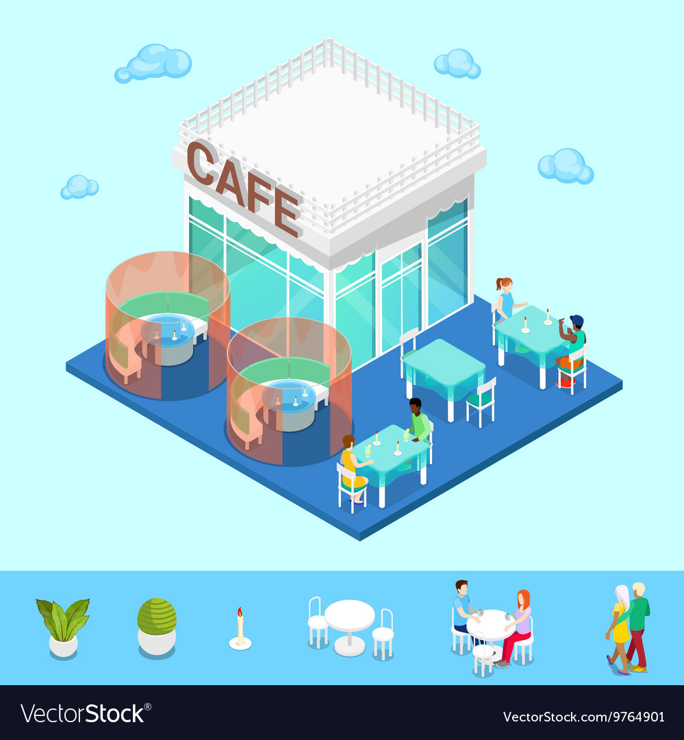 Isometric City City Cafe with Tables and People