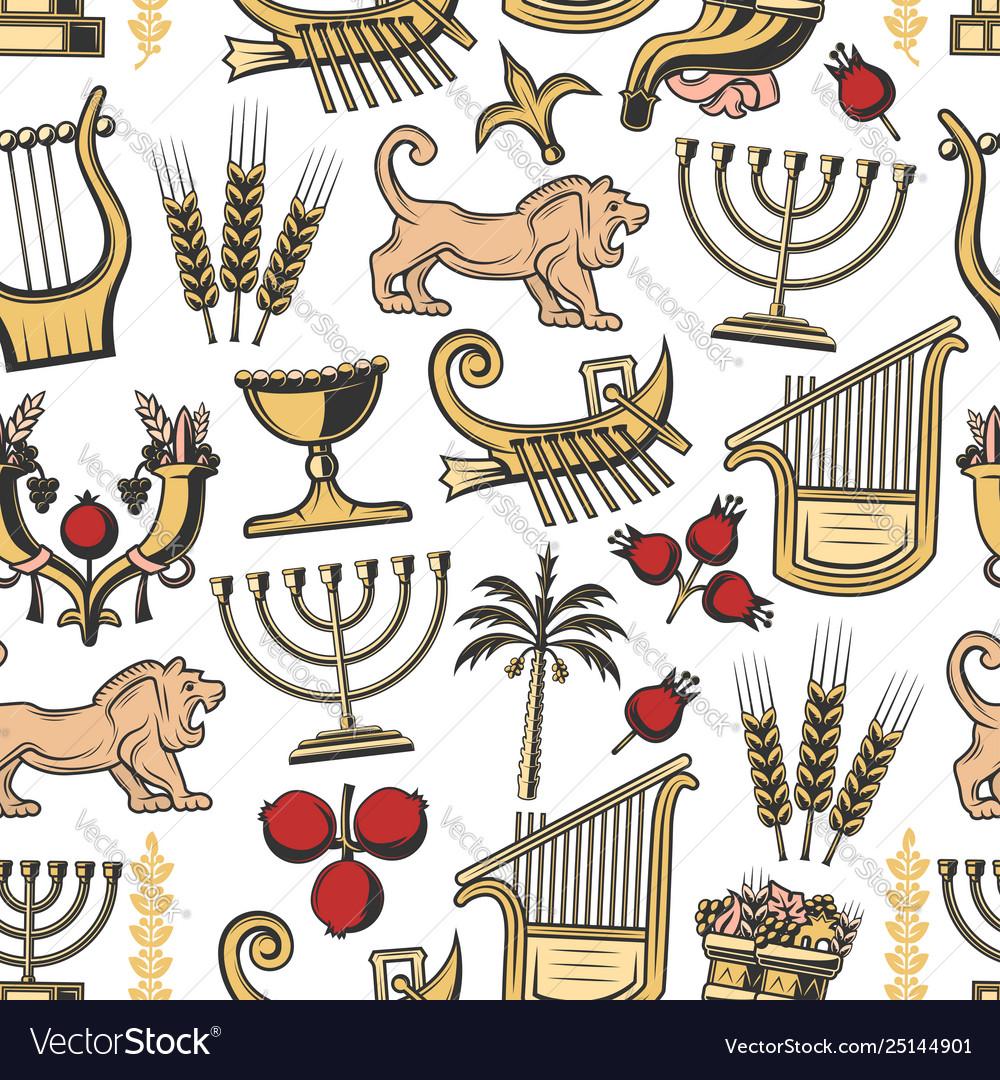 Israel traditional symbols seamless pattern