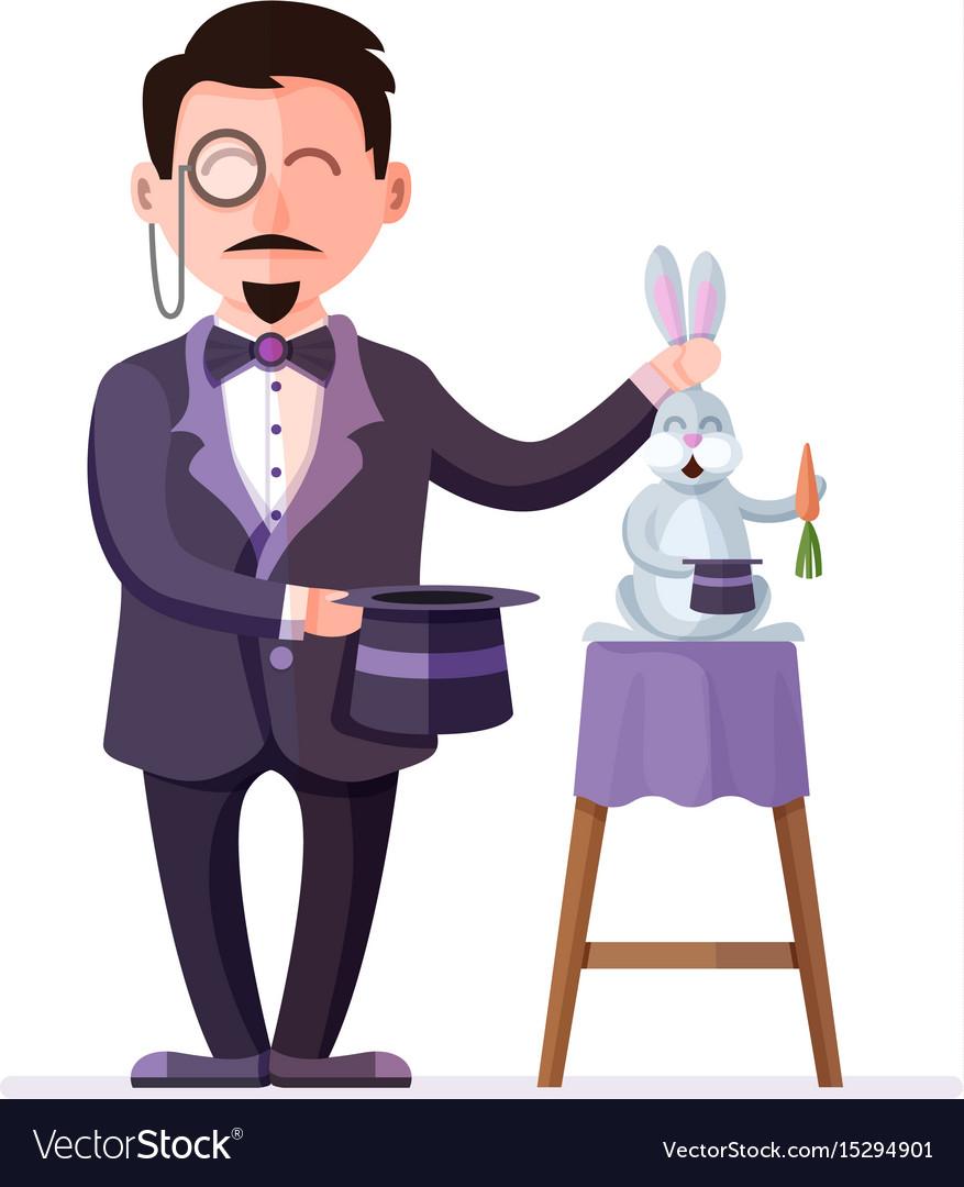 Magician holding rabbit and magic hat