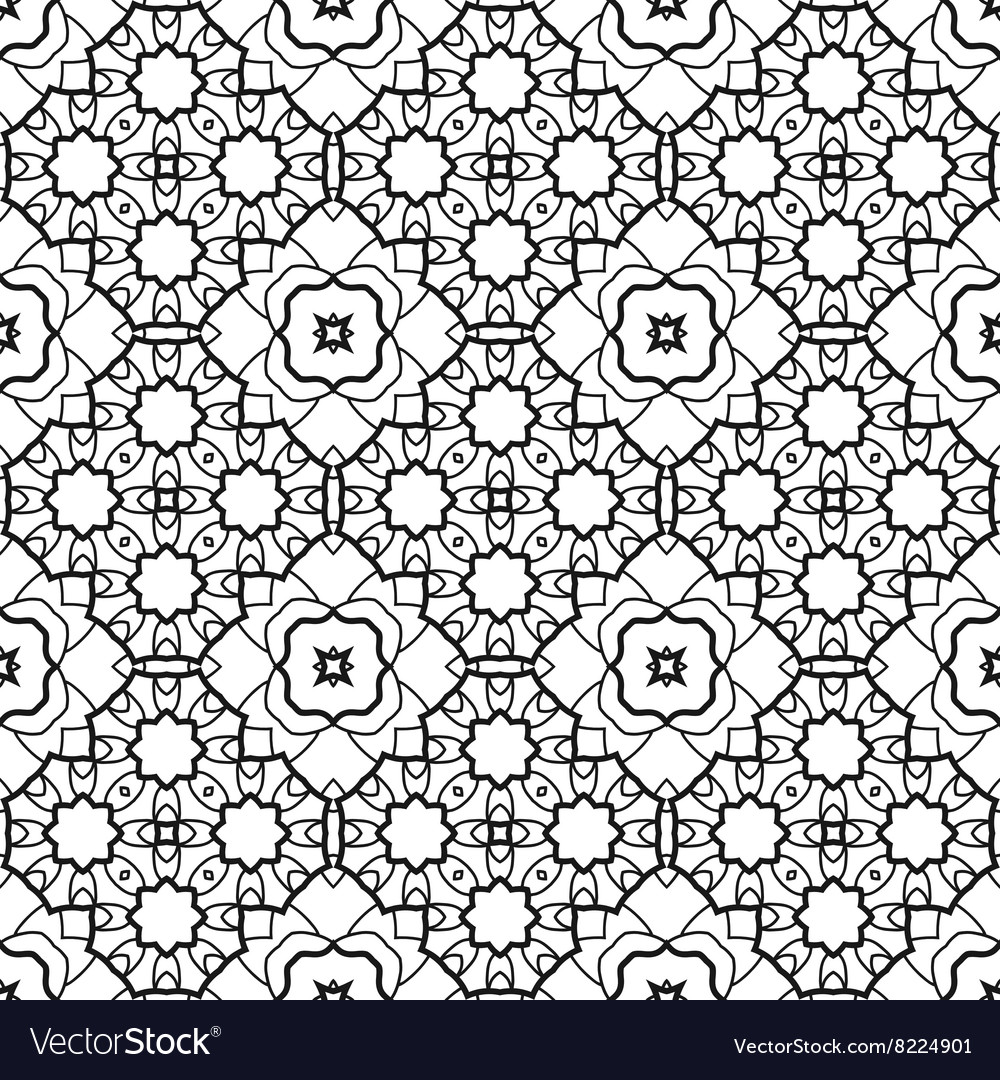 Pattern for coloring book Seamless decorative vector image