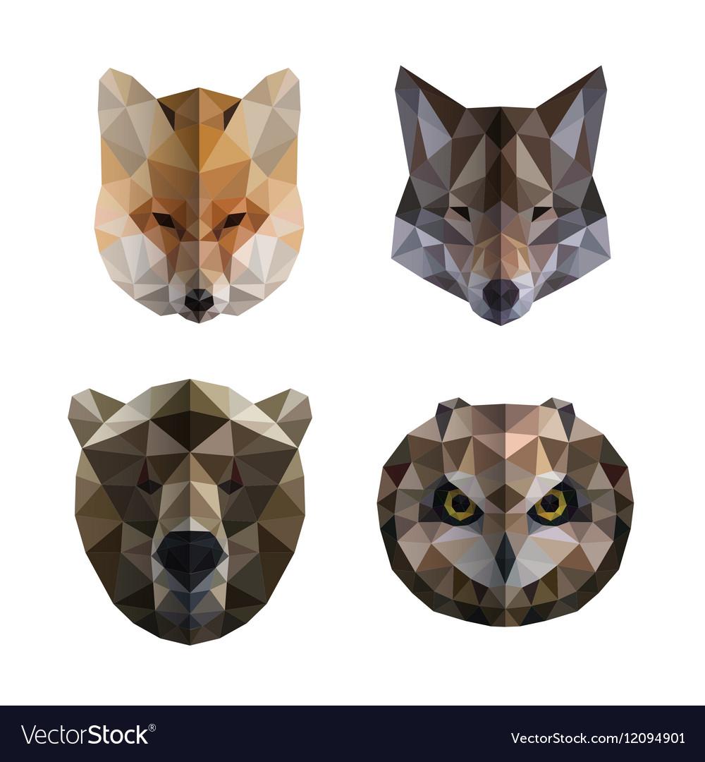 Polygonal animal heads
