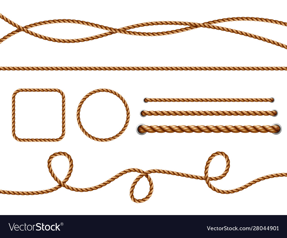 Realistic ropes yellow or brown curved nautical