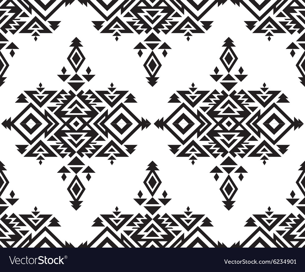 Tribal black and white seamless pattern