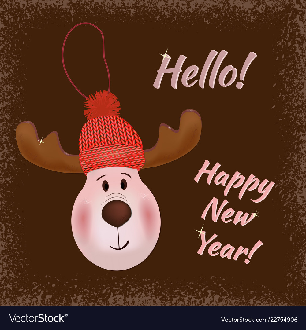 A deer in a knitted hat happy new year hello