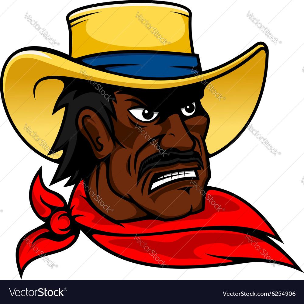 African american cartoon cowboy man in hat