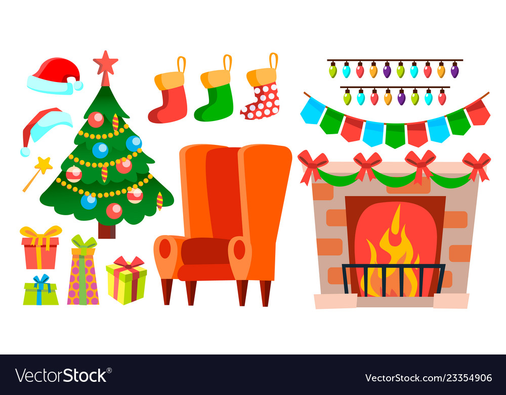 Christmas decoration icons fireplace sock