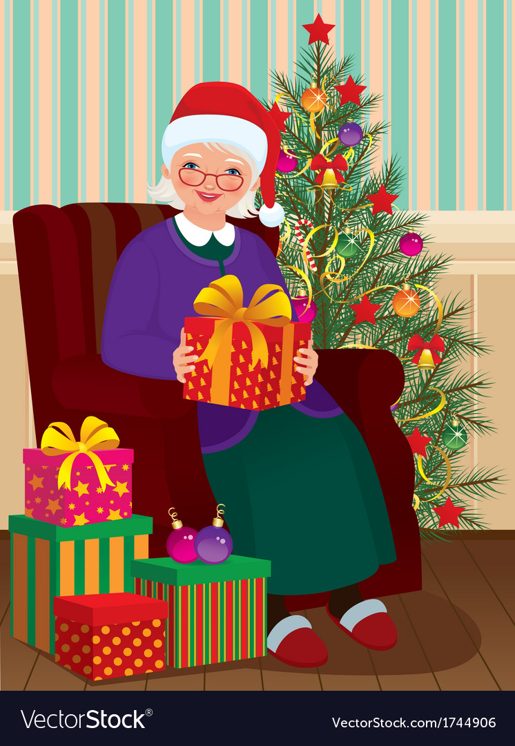 Christmas Gifts for Grandma Royalty Free Vector Image