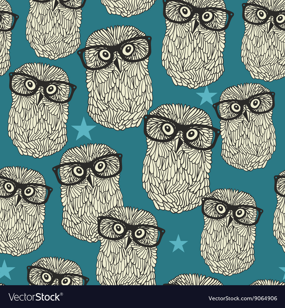 Cool hipster owl seamless pattern with stars