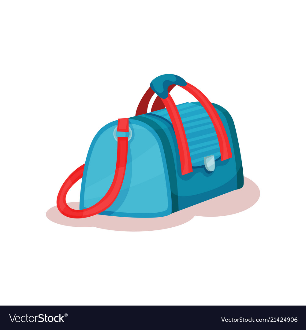 Flat icon of large travel bag with red