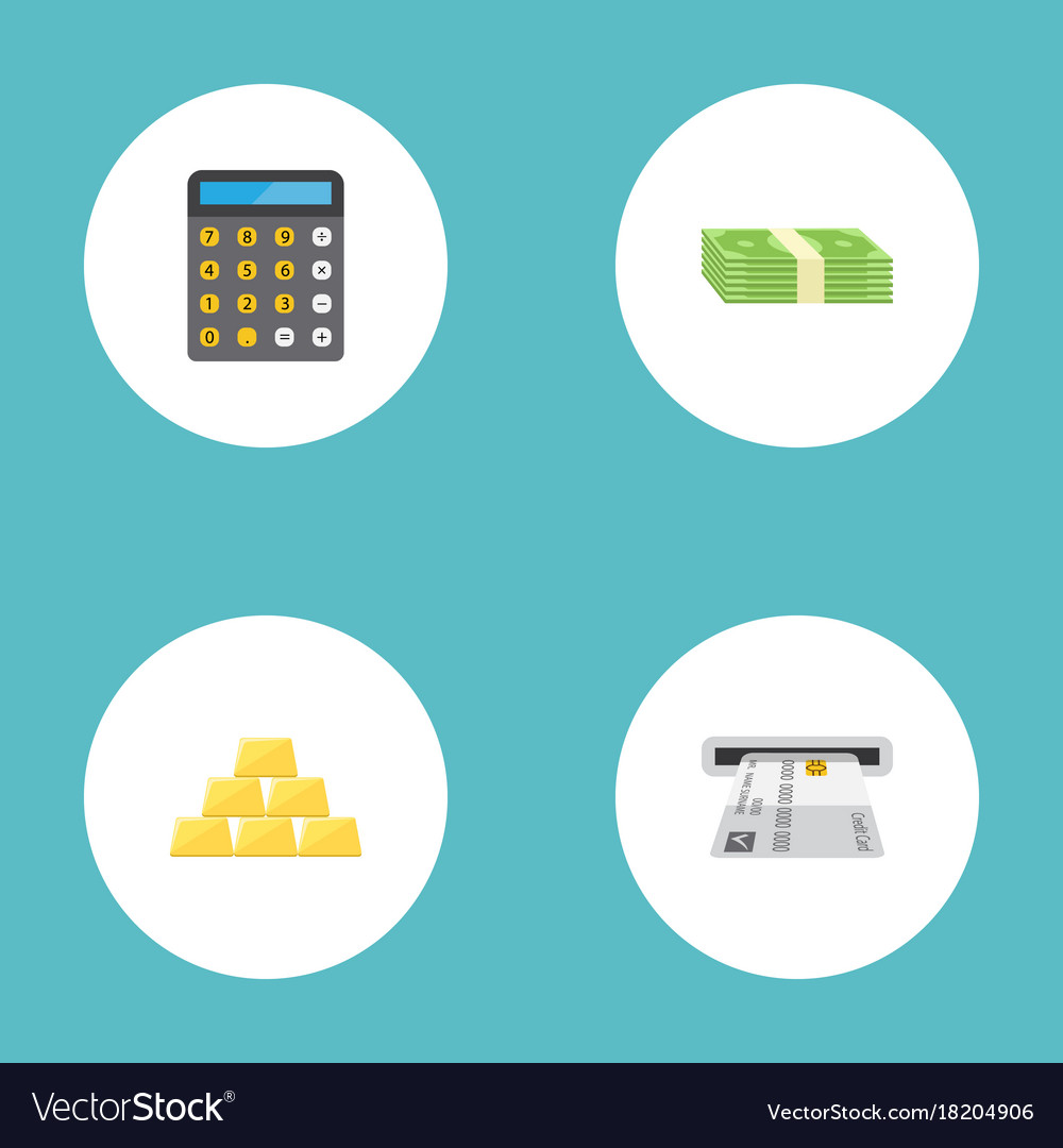 Flat icons ingot accounting teller machine and vector image