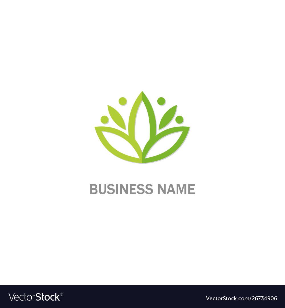 Green leaf lotus flower beauty logo