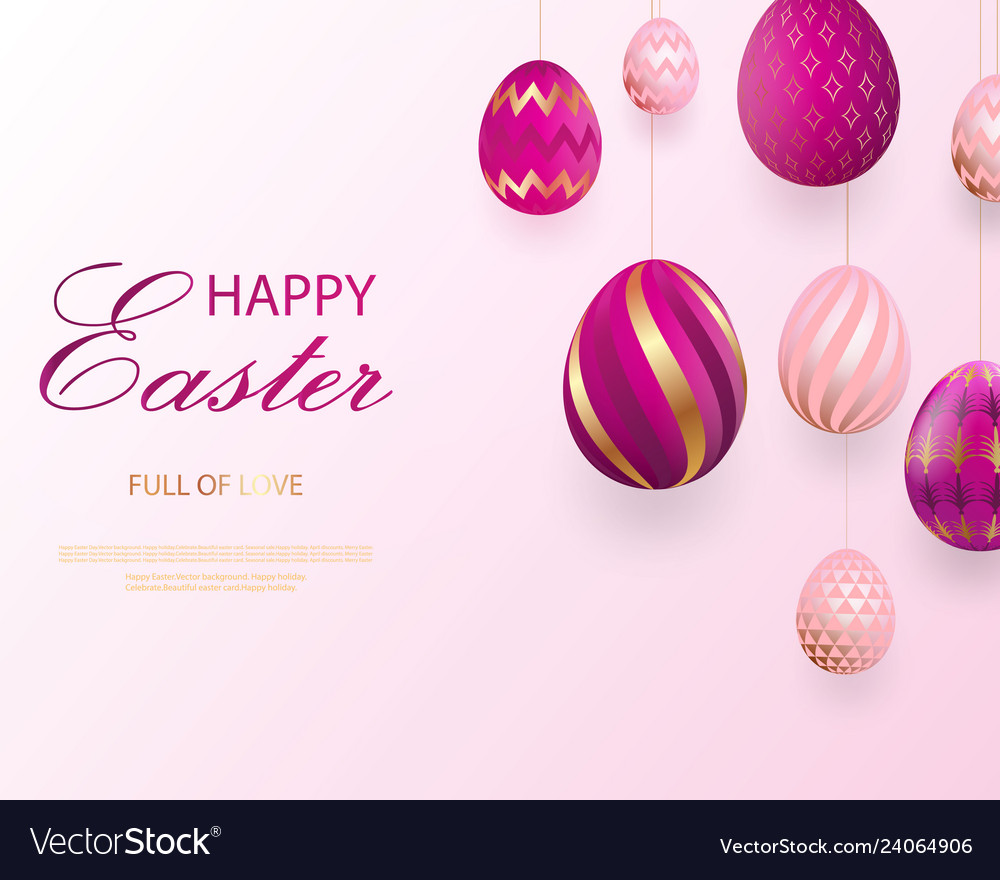 Happy easter lettering with pink gold realistic