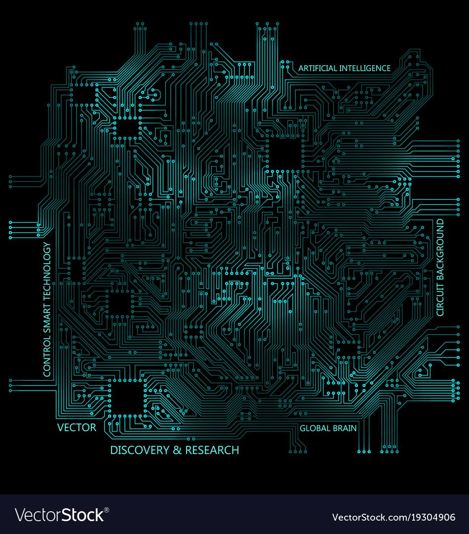 high tech circuit board technology computer vector image