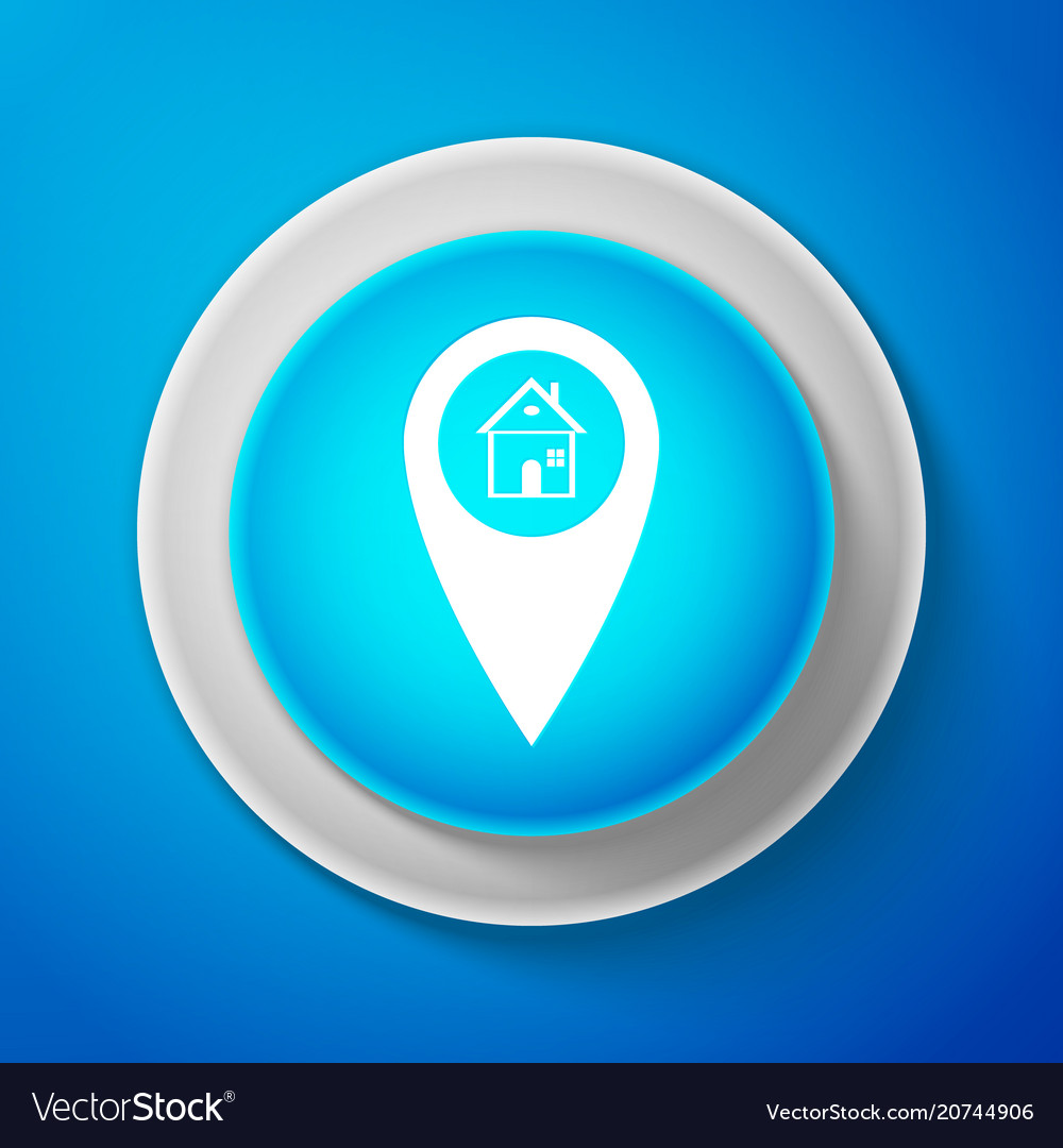Map pointer with house icon home location marker