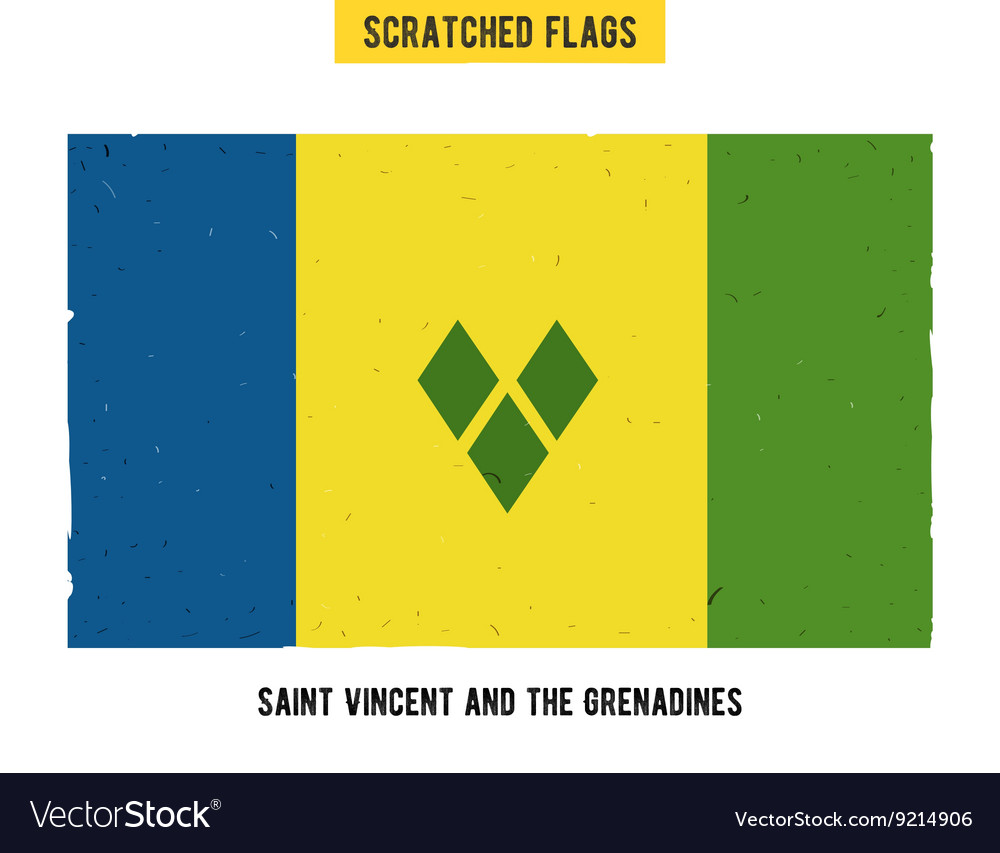 Scratched flag of Saint Vincent and the Grenadines