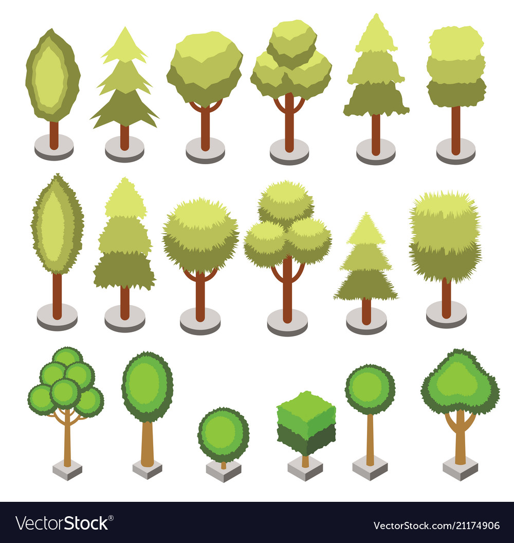 Set isometric 3d various shape trees isolated