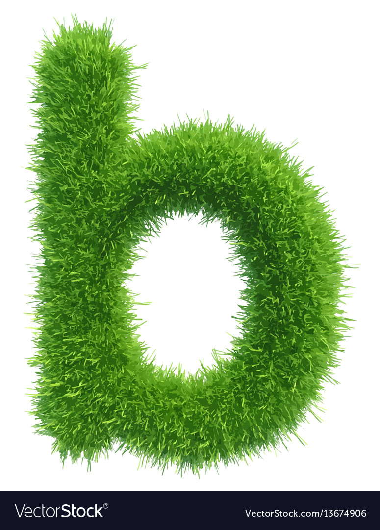 Small grass letter b on white background