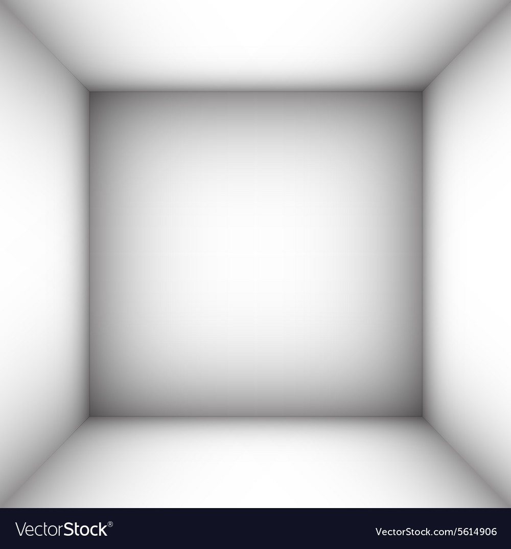 Square empty room with shaded white walls