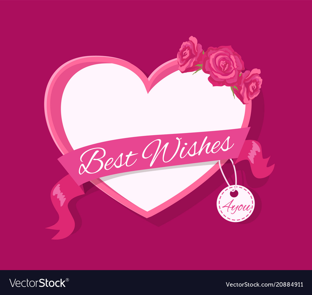 Best wishes 4 you greeting card design with heart vector image m4hsunfo