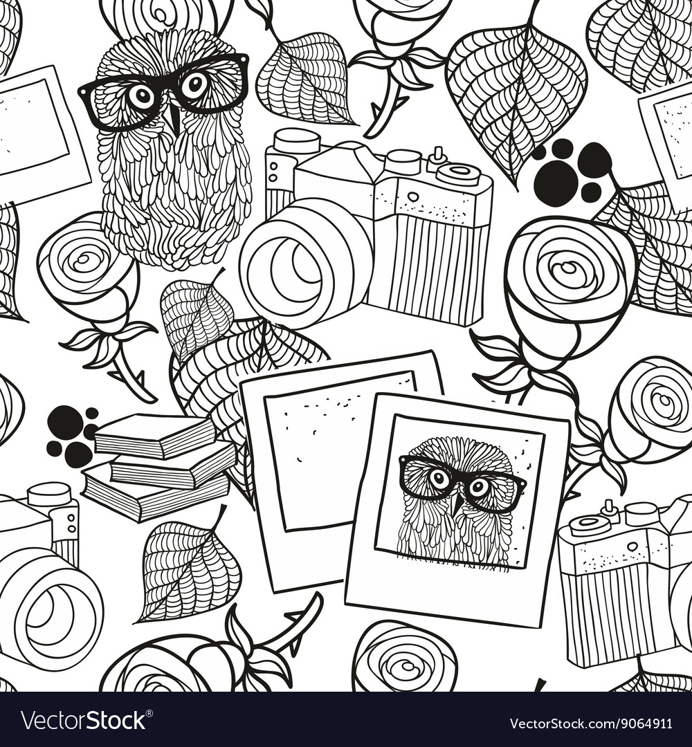 Black and white seamless pattern with vintage
