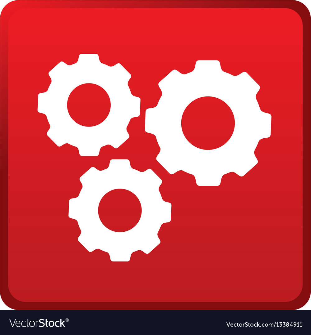 Color square emblem with gear wheels vector image