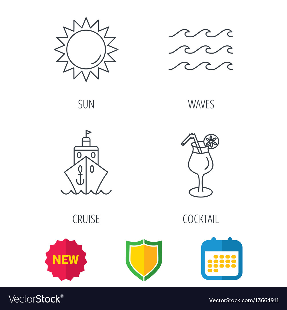 Cruise waves and cocktail icons