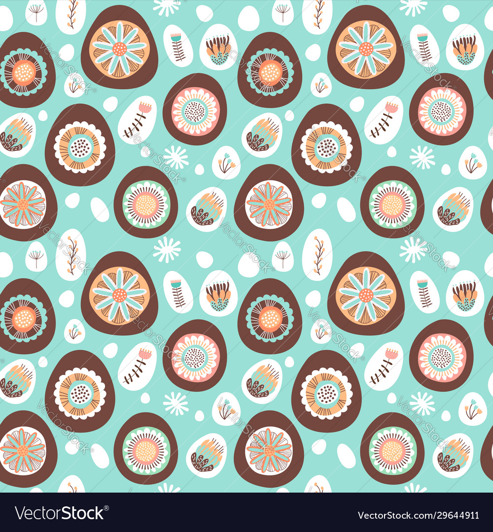 Easter chocolate egg and flower seamless pattern