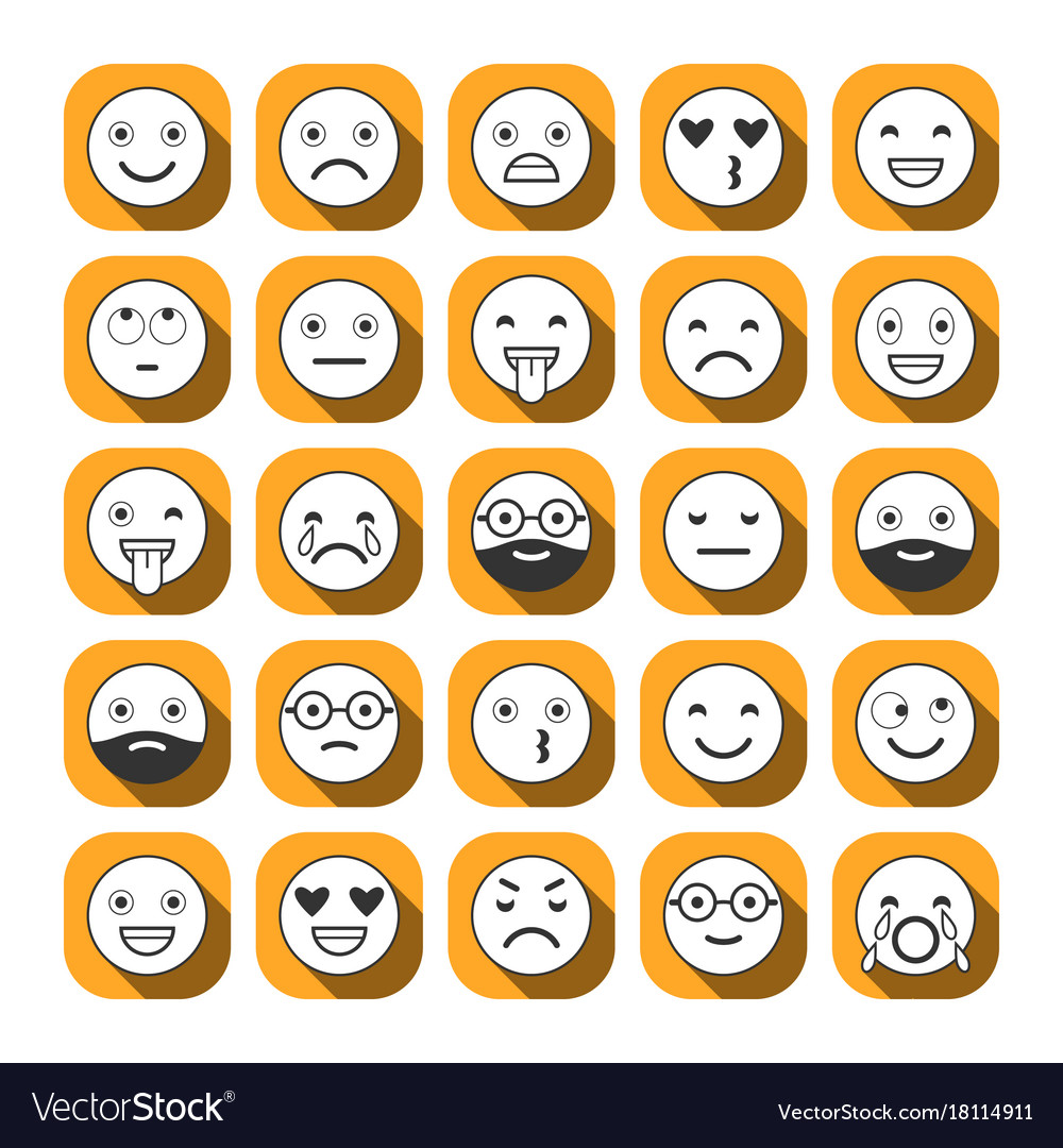 Flat icons of emoticons smile with a beard