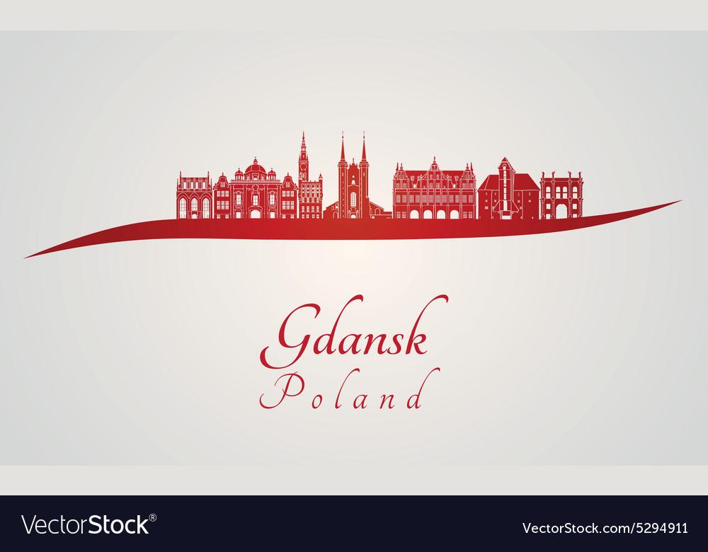 Gdansk skyline in red