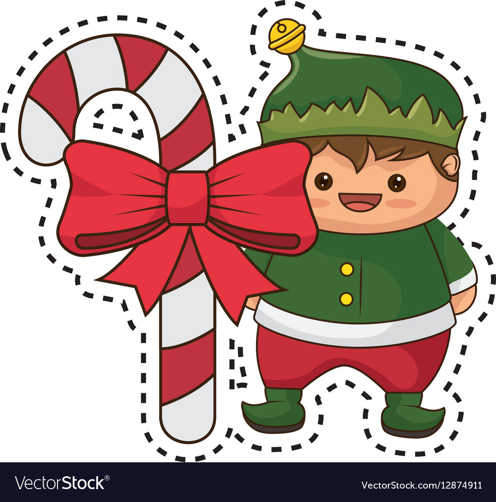 happy merry christmas elf kawaii character vector image - Merry Christmas Elf