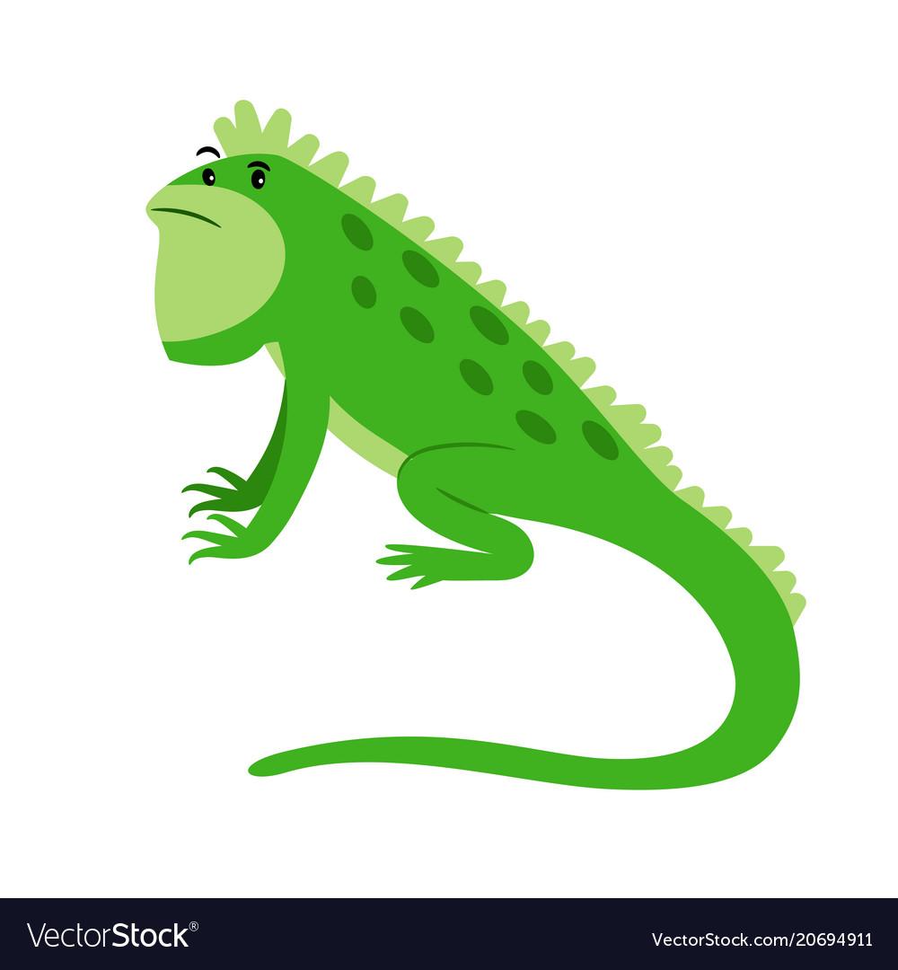 Iguana exotic reptile cartoon icon vector image