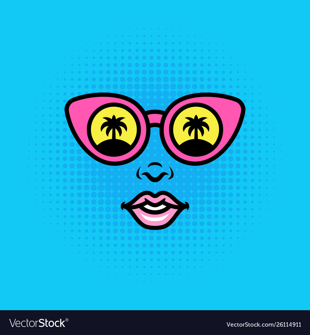 Positive pop art style girl or woman face in