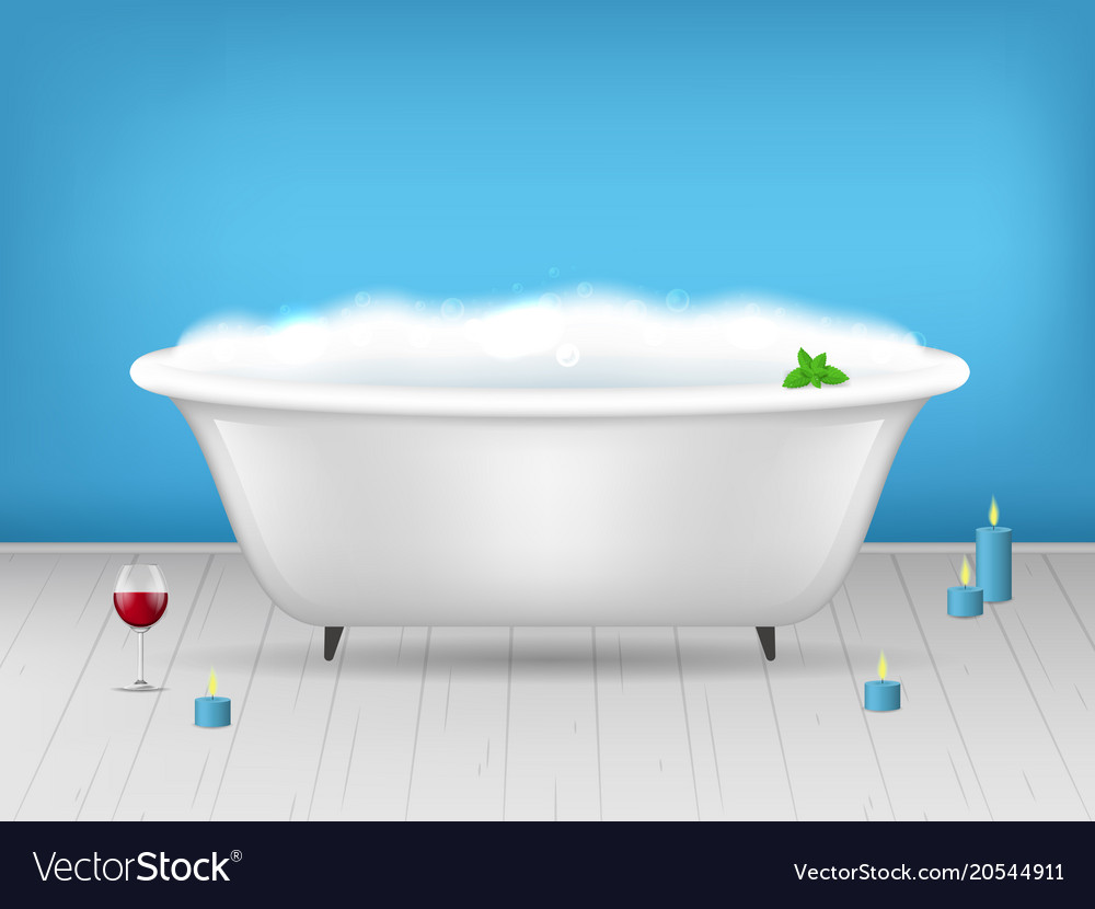 Realistic detailed 3d bathroom bathtub with foam Vector Image