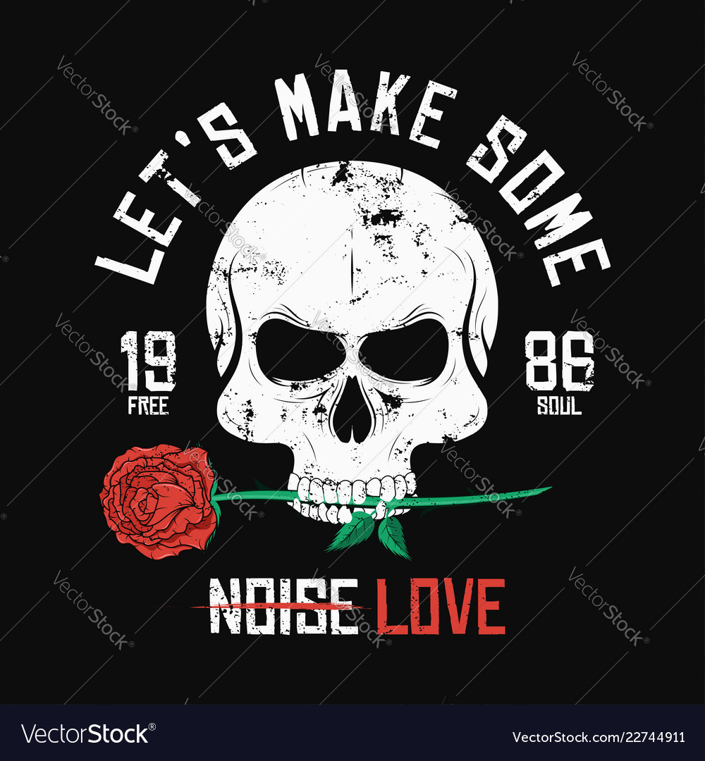 Rock music style t-shirt design skull is biting