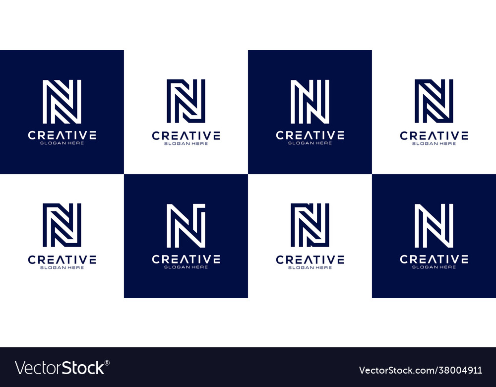 Set initial n abstract logo template