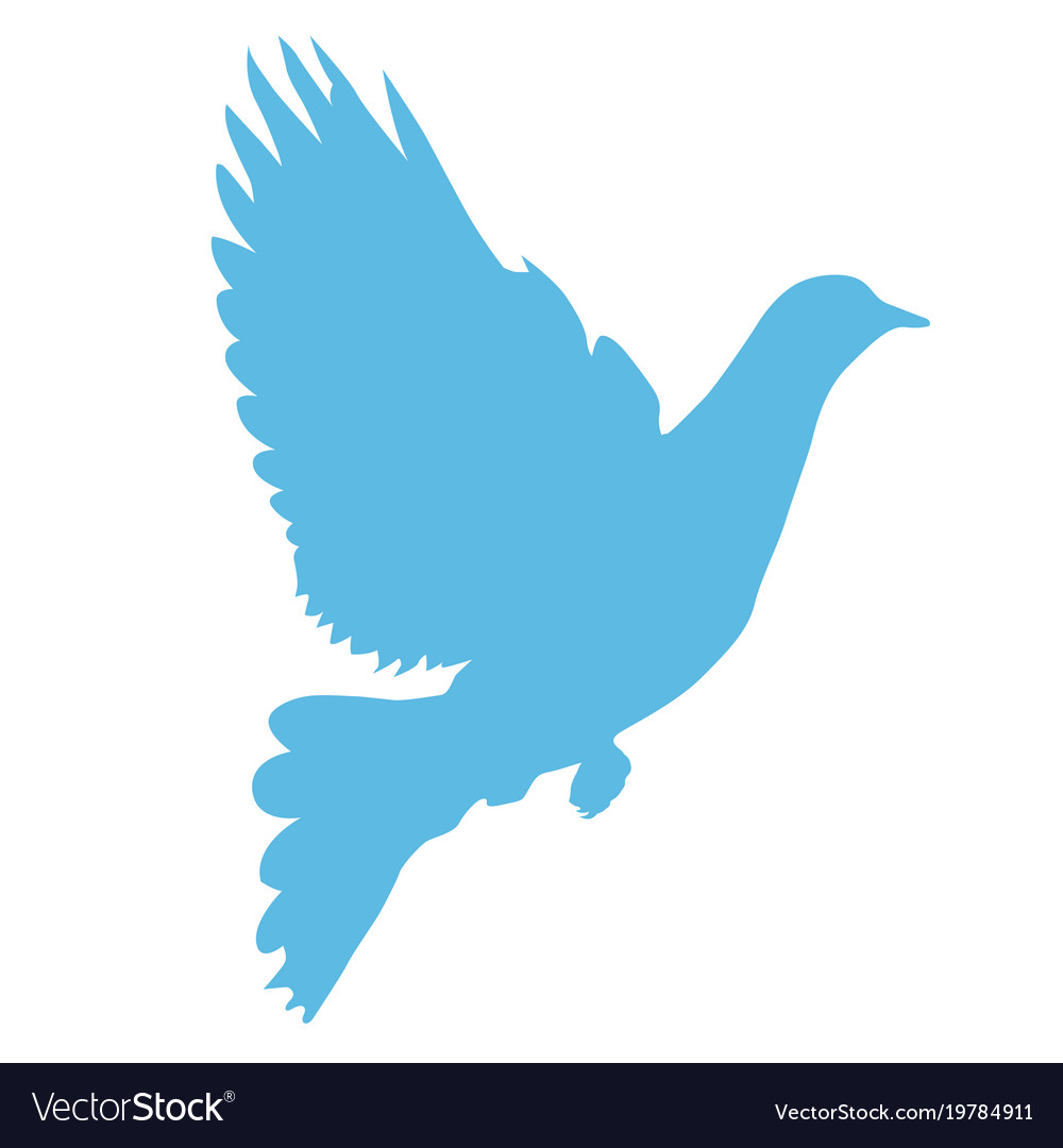 Silhouette Of Dove Taking Wings Peace Symbol Vector Image