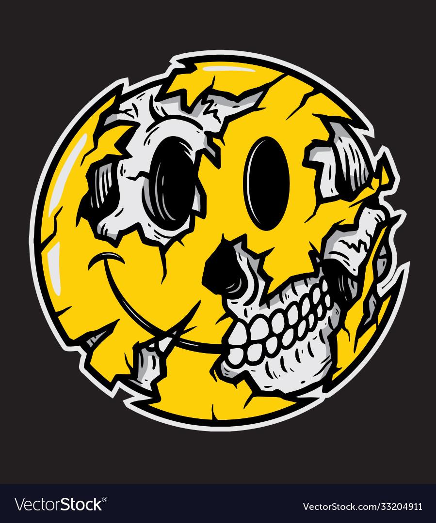 Smiley face emoji halloween skull
