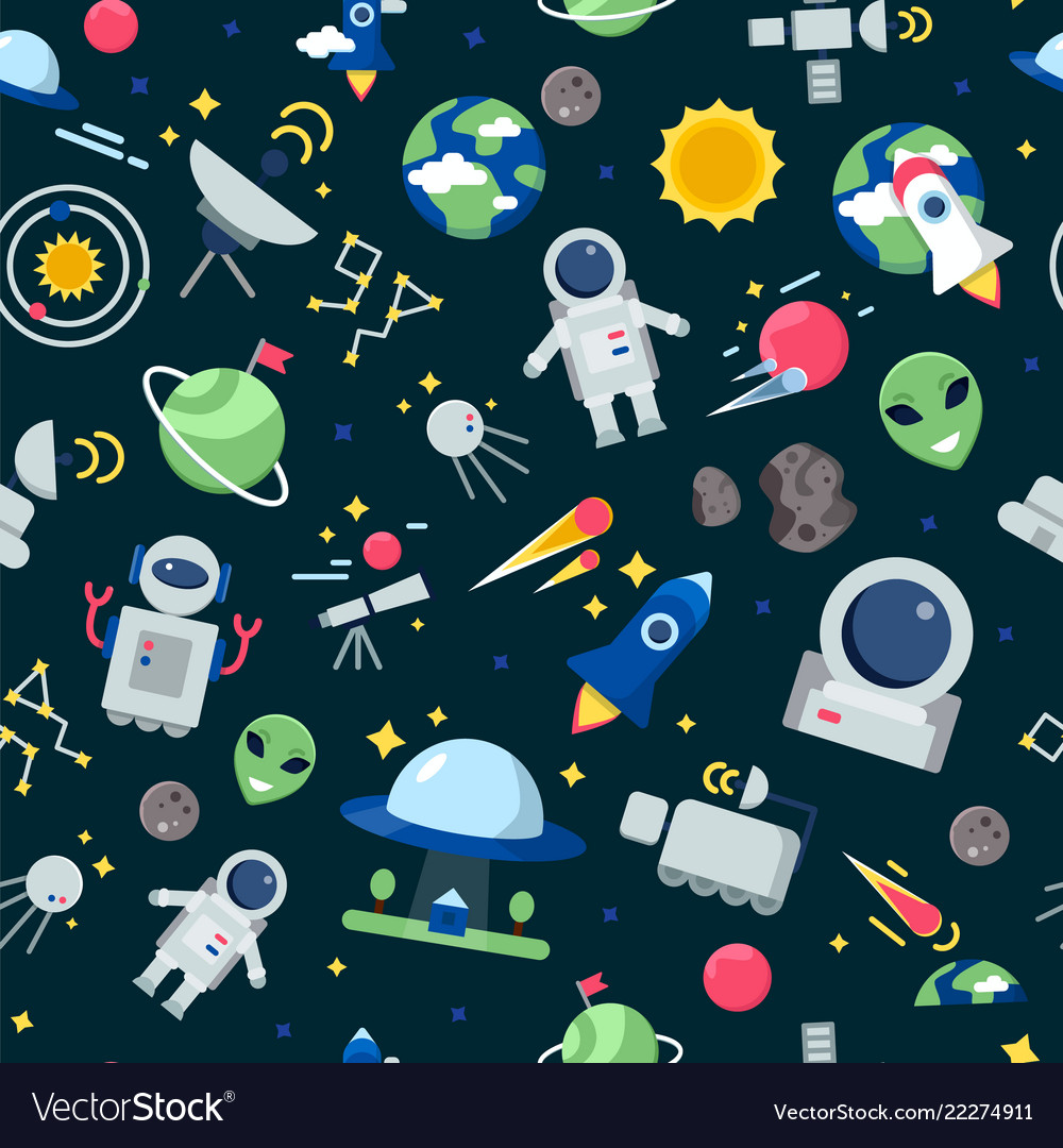 Space pattern shuttle rocket astronaut stars