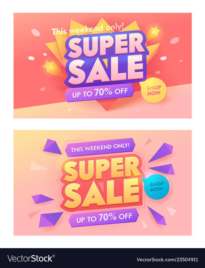 Super sale offer 3d banner promotion discount