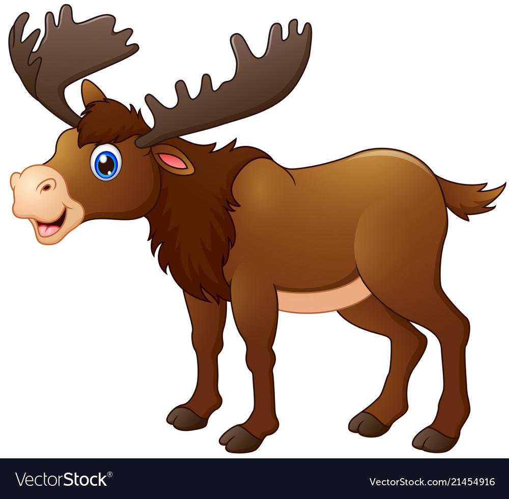 Cute moose cartoon Royalty Free Vector Image - VectorStock