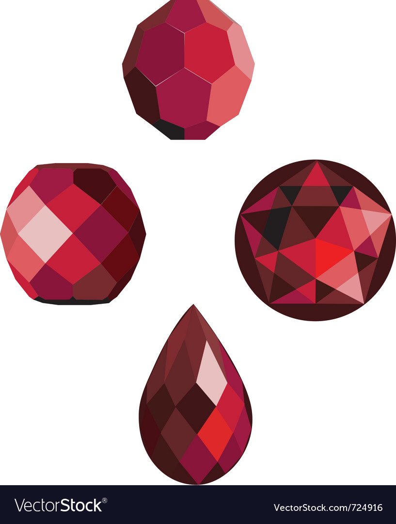 Faceted ruby red beads vector image