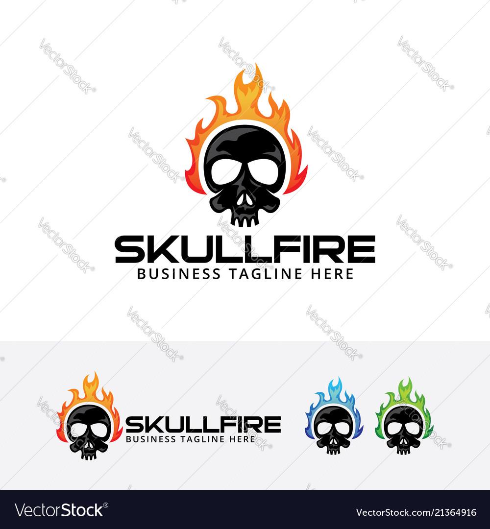 Fire skull logo symbol d