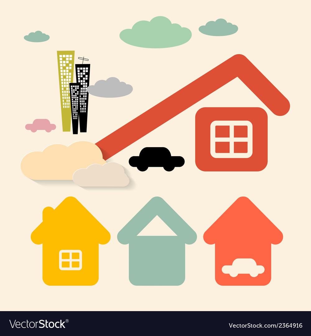Houses and Cars Symbols Set