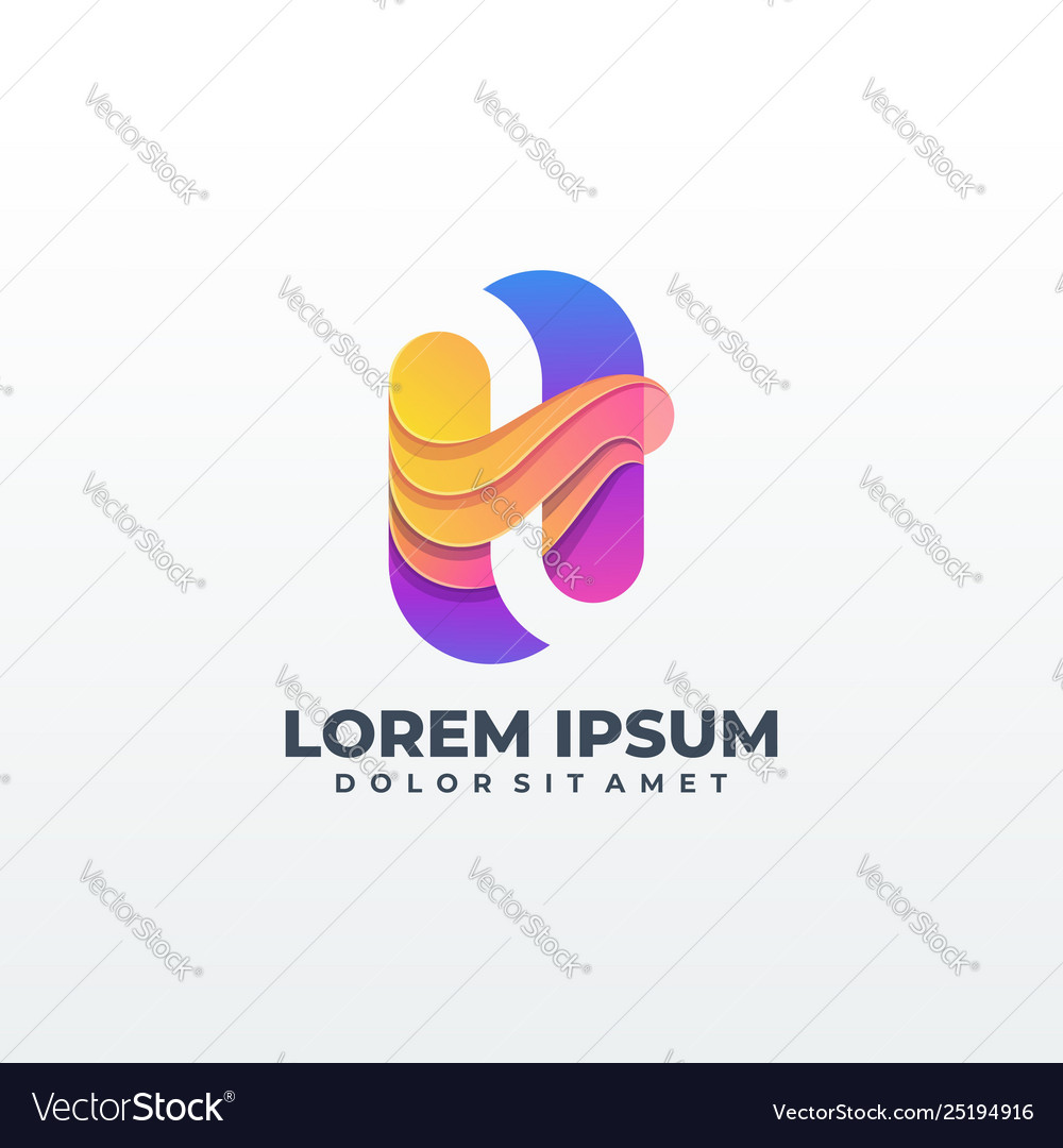 Letter h logo design colorful smooth gradient
