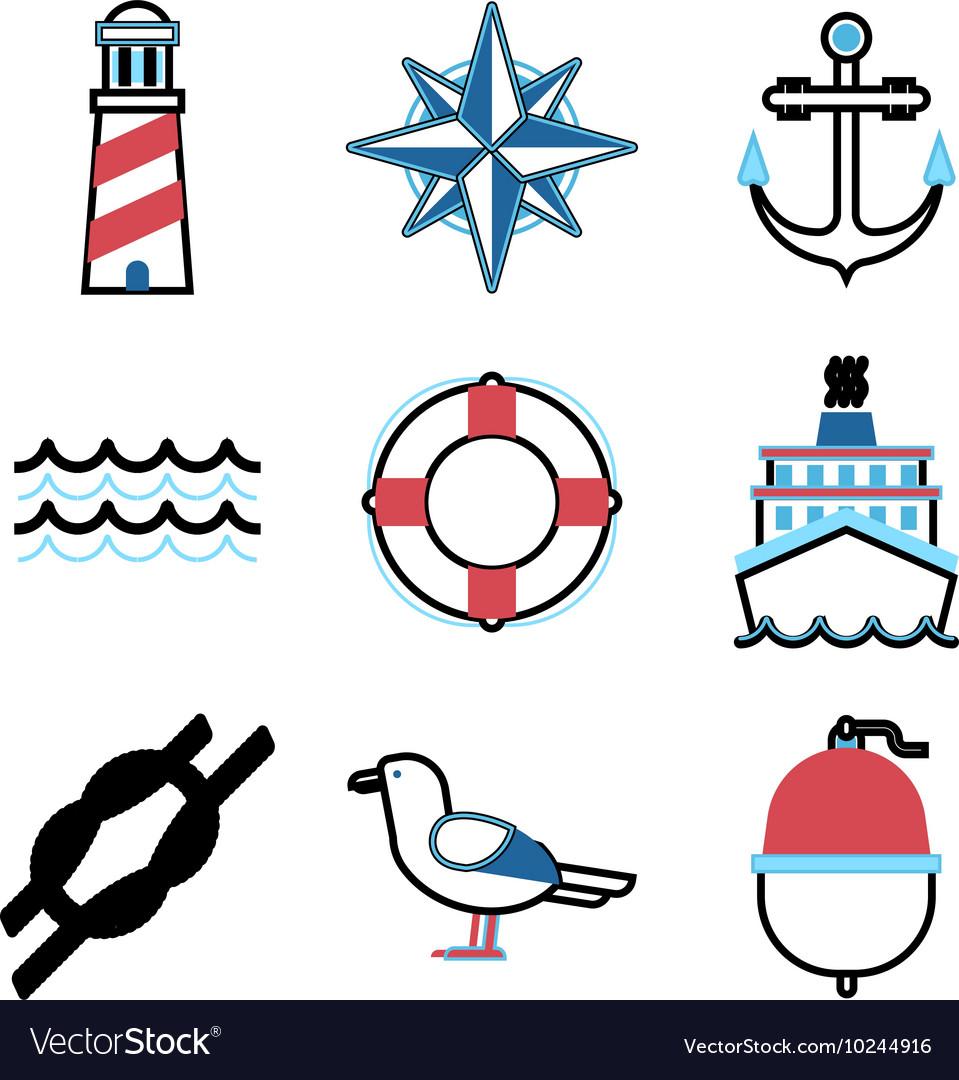 Marine sea icons set